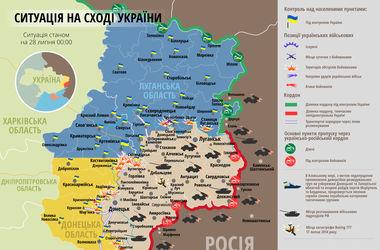 """Самые """"горячие"""" точки Донбасса 28 июля: интерактивная карта боев и обстрелов"""