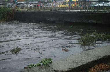 После ливня в Киеве река Лыбедь вышла из берегов