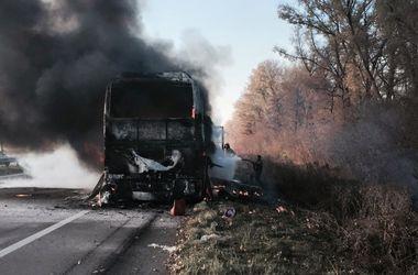 Под Киевом дотла сгорел автобус