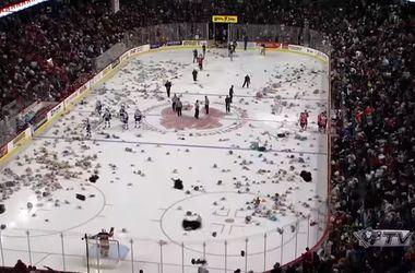Хоккейные болельщики выбросили на лед тысячи плюшевых мишек