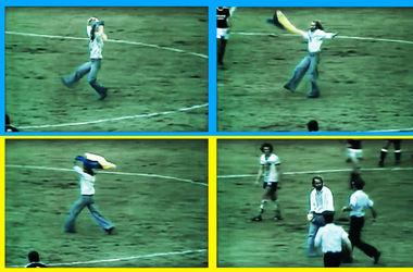 Раритетное видео: болельщик выбежал на поле с сине-желтым флагом на матче сборной СССР