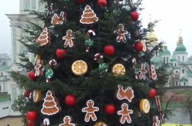 Как выглядит главная елка Украины с высоты птичьего полета