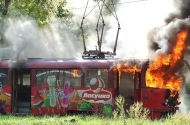 Во Львове горел трамвай