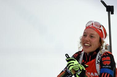 Елена Пидгрушная выиграла цветы на Кубке мира по биатлону