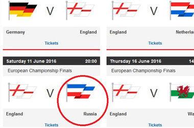 Футбольная ассоциация Англии ошиблась с флагом России