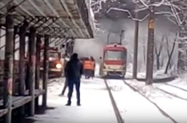 В Запорожье горел трамвай