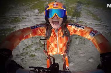 Лыжница с реактивным двигателем установила рекорд скорости