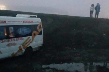 Во Львове микроавтобус с детьми слетел с трассы из-за тумана