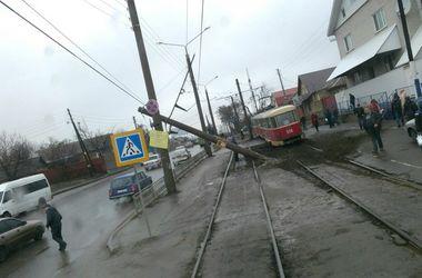 В Харькове трамвай сошел с рельсов и снес столб