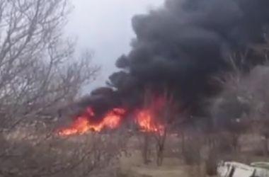 В сети появилось видео с места крушения Су-25 в России