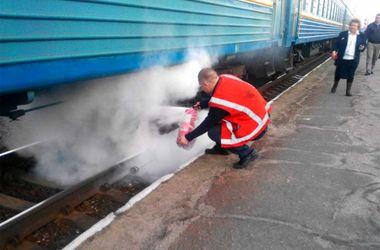 Под Харьковом задымился пассажирский поезд