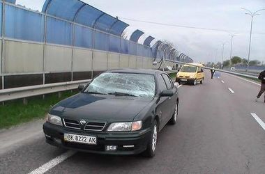 Электроопора рухнула на машину на трассе Киев-Чоп
