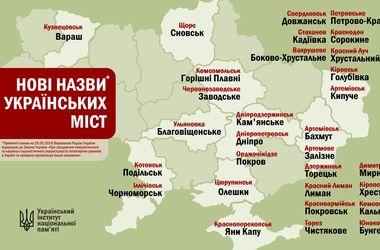 Новые названия городов Украины (инфографика)
