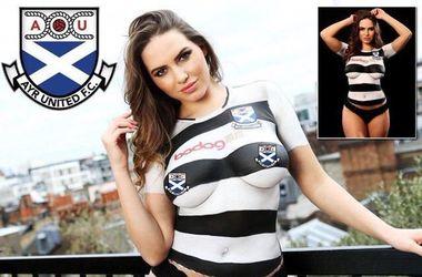 Сексуальная модель топлес представила новую форму клуба второго шотландского дивизиона