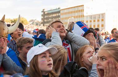 Эмоции исландцев в Рейкьявике во время матча с Францией на Евро-2016
