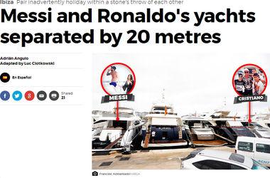 Роналду и Месси отдыхают на собственных яхтах в 20-ти метрах друг от друга