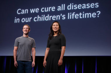 Цукерберг и Чен на пресс-конференции. Фото: Chan Zuckerberg Initiative / Facebook