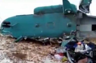 Появилось видео с места крушения Ми-8 в России