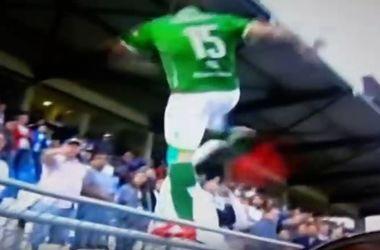 Футболист забрался на трибуну и ударил фаната ногой в голову
