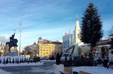 Как на Подоле в Киеве устанавливают новогоднюю елку