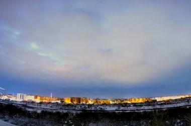 Видеохит: зимнее небо над Ивано-Франковском в формате 4К