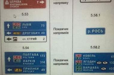 В Украине продемонстрировали новые дорожные указатели