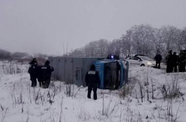 ДТП под Запорожьем: перевернулся автозак с 11 заключенными