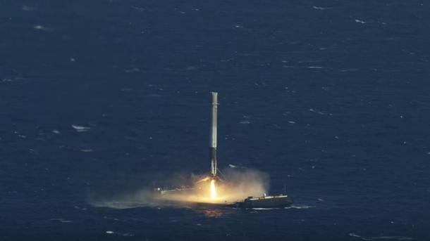 посадка spacex falcon 9 на платформу