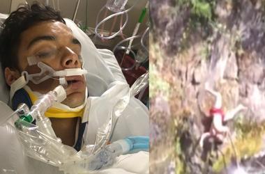 Видеохит: мужчина сорвался с 15-метровой высоты и упал в реку