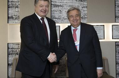 Forum in Davos, Poroshenko discussed with the UN Secretary-General Donbass and Crimea