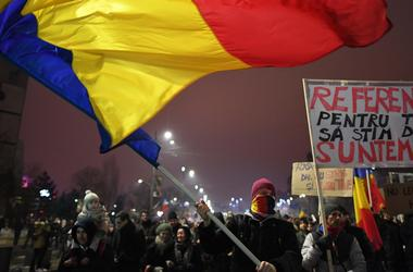 I Rumænien, som blev afholdt masseprotester