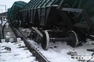 Место крушения товарного поезда в Черкасской области