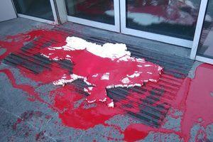В Киеве активисты облили краской отделения российских банков