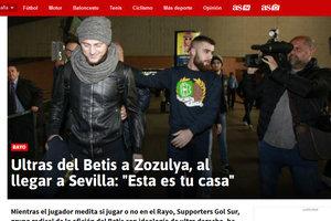 """Ультрас """"Бетиса"""" встретили Зозулю в Севилье: """"Это твой дом"""""""