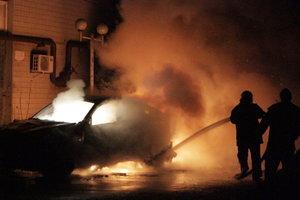 В Киеве на проезжей части дотла сгорел автомобиль