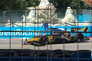 Гоночный беспилотник попал в аварию в первой же гонке