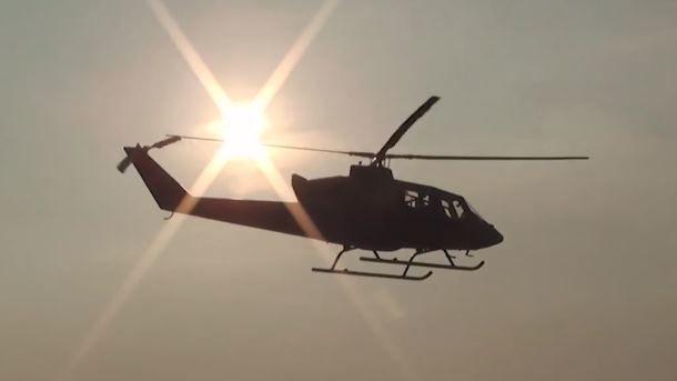 Вцентре Чернигова приземлился вертолет, чтобы забрать командующего Воздушных сил Украины