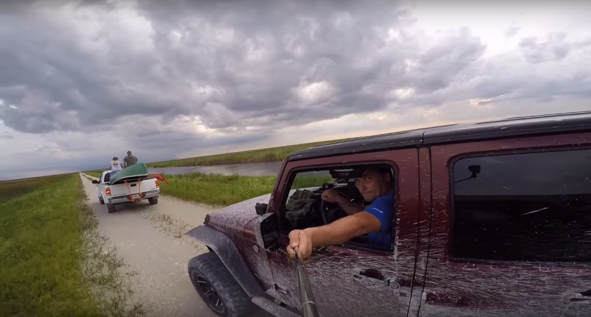 alex-lopatnyuk-was-gator-hunting-in-florida-and-brought-along-a-gopro-for-the-first-time-he-decided-to-get-a-selfie-of-himself-driving--but-wasnt-paying-attention-to-the-road-ahead-lopatnyuk-crashed-into-the-a-truck-in