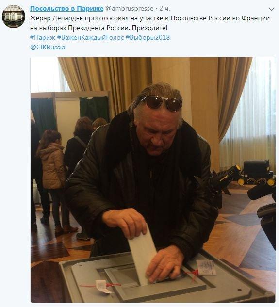 Житель россии Жерар Депардье проголосовал навыборах президента