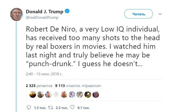 Трамп разъяснил оскорбления отДеНиро отбитой головой артиста