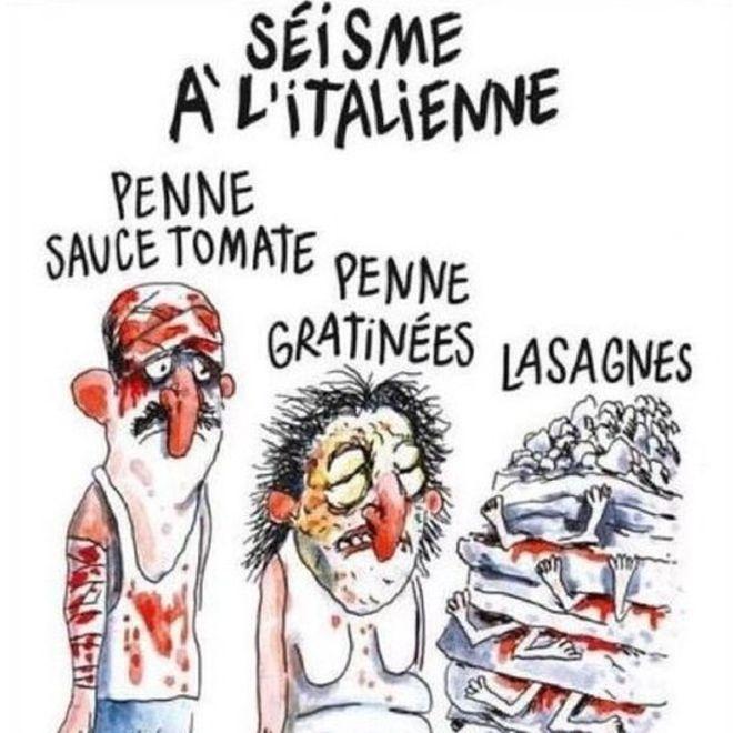 ВCharlie Hebdo смеются над жертвами землетрясения вИталии