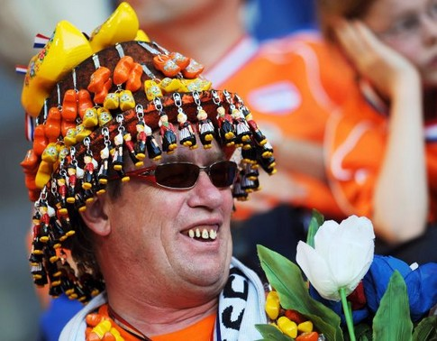 A Dutch supporter cheers before the Euro 2008 Championships quarter-final football match the Netherlands vs. Russia on June 21, 2008 in the stands of St. Jakob-Park in Basel. AFP PHOTO / PIERRE-PHILIPPE MARCOU -- MOBILE SERVICES OUT --