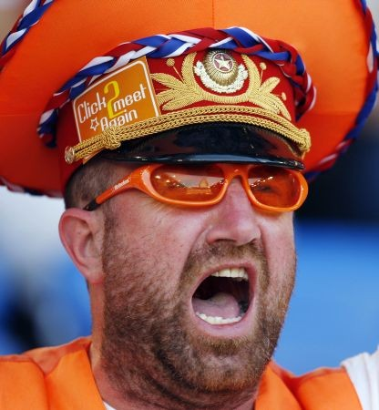 A Dutch supporter cheers prior to the kick off of the Euro 2008 Championships quarter-final football match the Netherlands vs. Russia on June 21, 2008 at St. Jakob-Park in Basel.     AFP PHOTO / PAUL ELLIS      -- MOBILE SERVICES OUT --