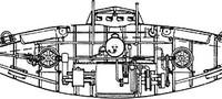 """Чертеж подводной лодки ( """"подводного минного аппарата """") Джевецкого (второй вариант) 1879 г..."""
