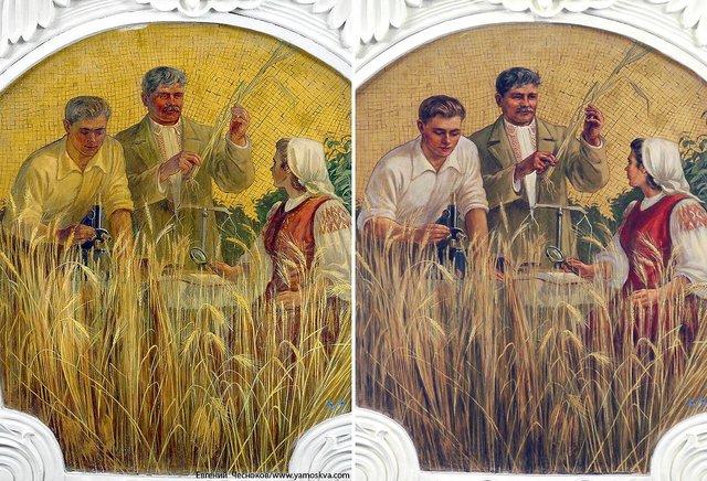 На «Киевской» уукраинки напанно закрасили венок слентами