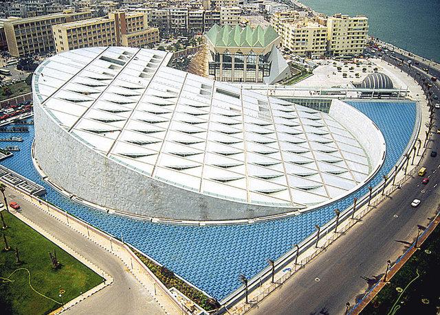 История. На месте легендарной Александрийской библиотеки в Египте за $238  млн построили «Александрину». Здание в форме диска стоит в бассейне и символизирует восход солнца. В схроне есть 8 млн книг, читальный зал — 70 тыс.  кв. м, библиотека для незрячих, 4 галереи искусств, планетарий и реставрационная лаборатория.