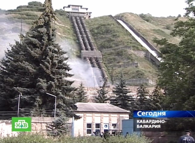 A Russian NTV channel television grab shows walls charred from a blast at the Baksanskaya hydroelectric power plant near the town of Baksan in Russia's Kabardino-Balkaria region on July 21, 2010. Militants burst into a hydroelectric plant in Russia's volatile Caucasus region in a brazen dawn attack, killing two people and setting the facility ablaze with a string of blasts, officials said. The unknown attackers set off the explosions at the station in the unrest-infested North Caucasus's Kabardino-Balkaria region by laying mines in the turbine room. The plant has been shut down as a result.  AFP PHOTO / NTV ==RESTRICTED TO EDITORIAL USE== , A Russian NTV channel television grab shows smoke from a blast rising out of the Baksanskaya hydroelectric power plant near the town of Baksan in Russia's Kabardino-Balkaria region on July 21, 2010. Militants burst into a hydroelectric plant in Russia's volatile Caucasus region in a brazen dawn attack, killing two people and setting the facility ablaze with a string of blasts, officials said. The unknown attackers set off the explosions at the station in the unrest-infested North Caucasus's Kabardino-Balkaria region by laying mines in the turbine room. The plant has been shut down as a result.  AFP PHOTO / NTV ==RESTRICTED TO EDITORIAL USE==