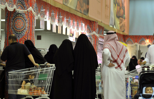 Saudis shop at a supermarket ahead of Islam's holy fasting month of Ramadan in the port city of Jeddah on August 9, 2010. Depending on the sighting of the new moon, Muslims around the world will start ramadan around August 11, when they refrain from eating, drinking and having sex from dawn to dusk. AFP PHOTO/AMER HILABI