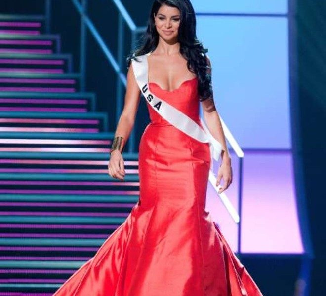 Miss USA 2010 Rima Fakih appears on stage during a preliminary event of the 2010 Miss Universe Competition in Las Vegas, Nevada on Thursday, August 19, 2010. The Miss Universe 2010 competition will air live on the NBC Television Network at 9 PM ET, August 23, 2010.     AFP PHOTO / Miss Universe Organization LP, LLLP   == RESTRICTED TO EDITORIAL USE / NO SALES / NO MARKETING / NO ADVERTISING ==