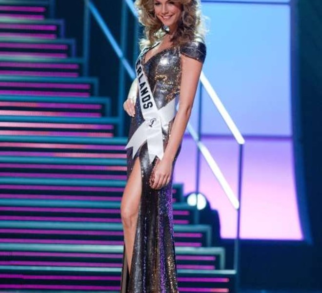 Miss Netherlands 2010 Desiree van den Berg appears on stage during a preliminary event of the 2010 Miss Universe Competition in Las Vegas, Nevada on Thursday, August 19, 2010. The Miss Universe 2010 competition will air live on the NBC Television Network at 9 PM ET, August 23, 2010.     AFP PHOTO / Miss Universe Organization LP, LLLP   == RESTRICTED TO EDITORIAL USE / NO SALES / NO MARKETING / NO ADVERTISING ==